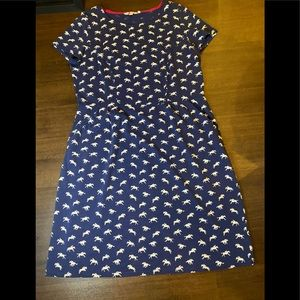 Boden Blue Cotton Dress with White Horse - 14